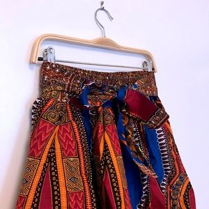 Maxi African-print skirt with Tie Waist